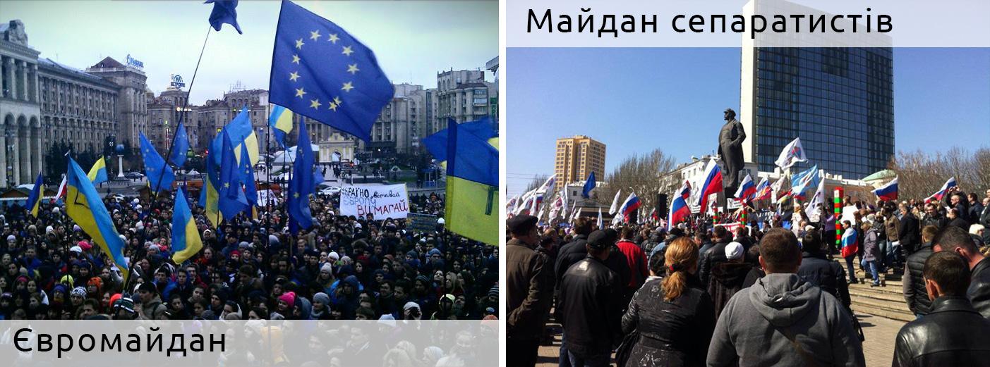 Євромайдан і антимайдан сепаратистів
